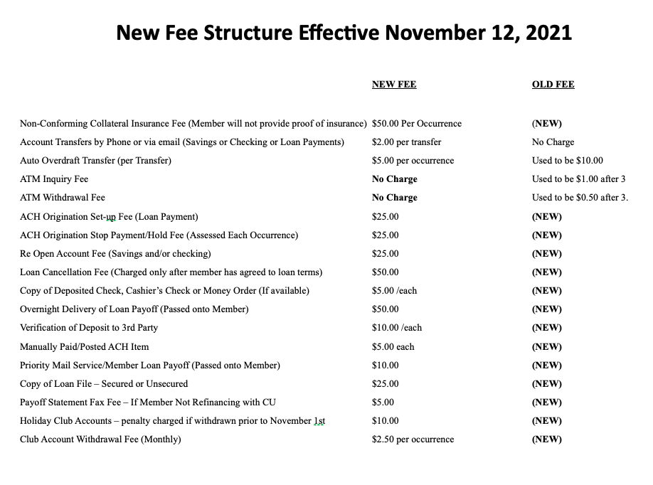 new fee structure